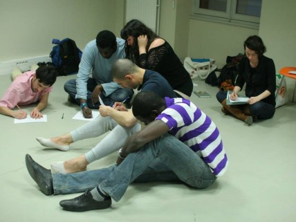 The workshops with migrants in Centquatre  during Paris part of the project
